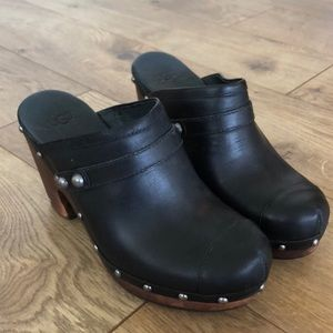 Leather Clog Mule Heels